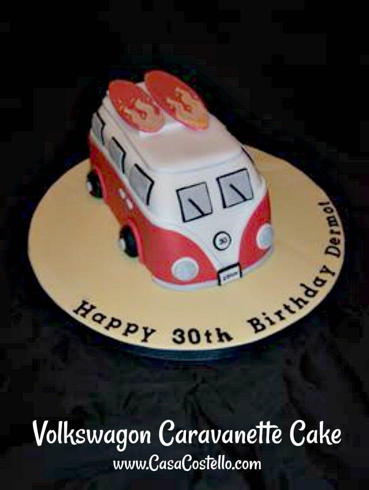Volkswagon Caravanette Camper Van 30th Birthday Cake