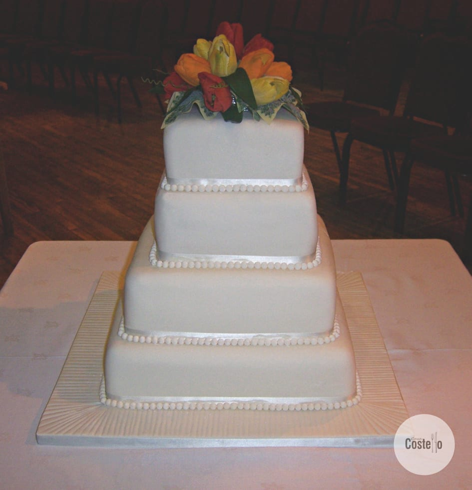 4 Tier Carrot Wedding Cake with Tulips