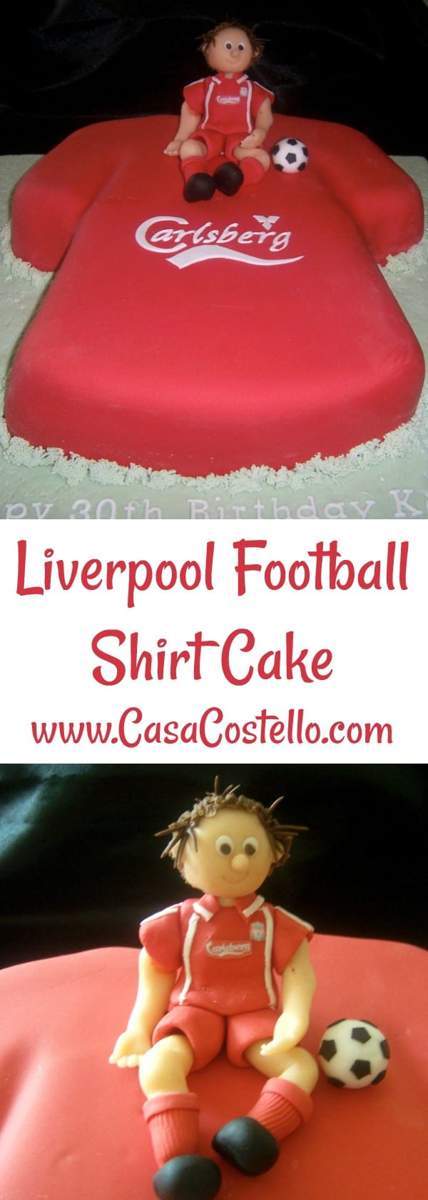 Liverpool Football Club Shirt Novelty Cake with Sugar Cake Topper Player