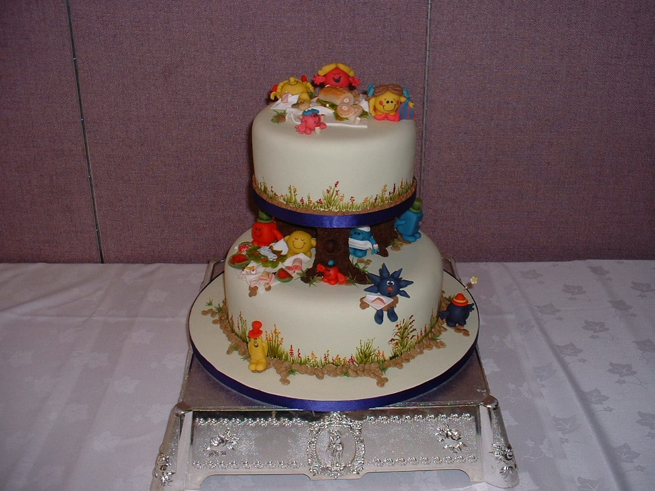 Christening Cake covered in Mr Men characters
