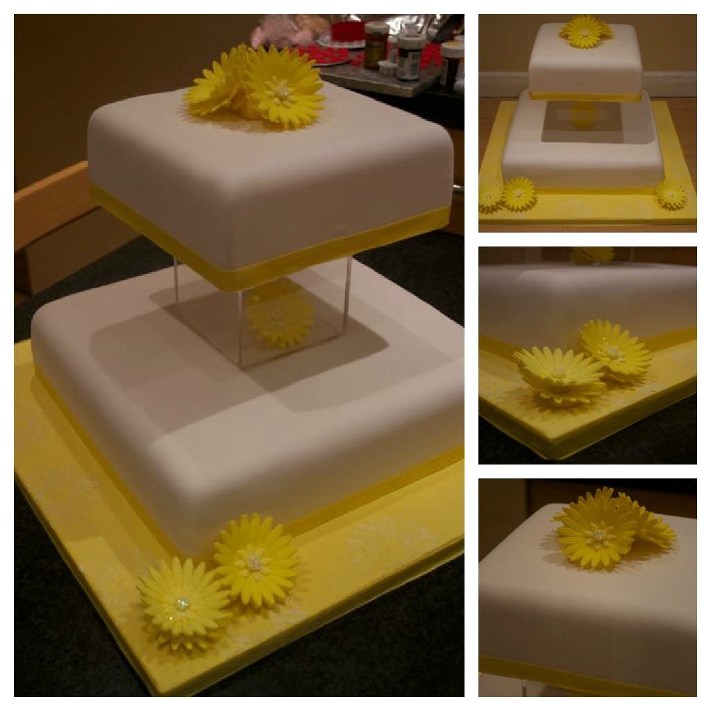 yellow sugar gerbera wedding cake
