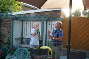 Popping champagne - Uncle Ernie and Australian Peter