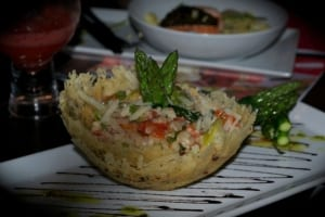 Vegetarian Salad in a Cheese Basket