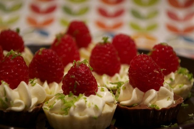 chocolate cup with lime cream & raspberry