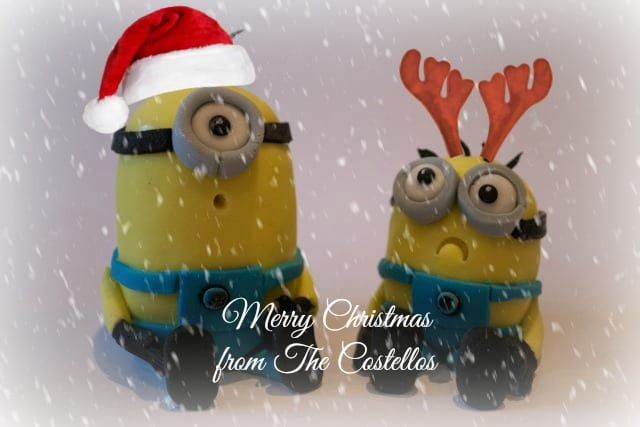 minion cake toppers, sugarcraft minions, cremem egg minions, Merry Christmas Message,