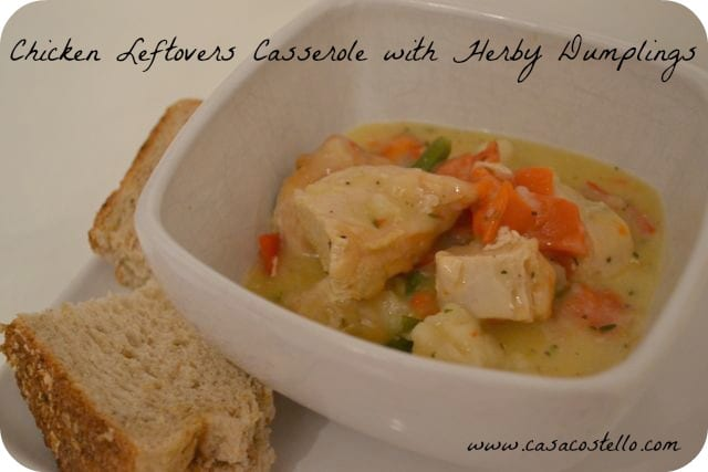Chicken Leftovers Casserole with Herby Dumplings