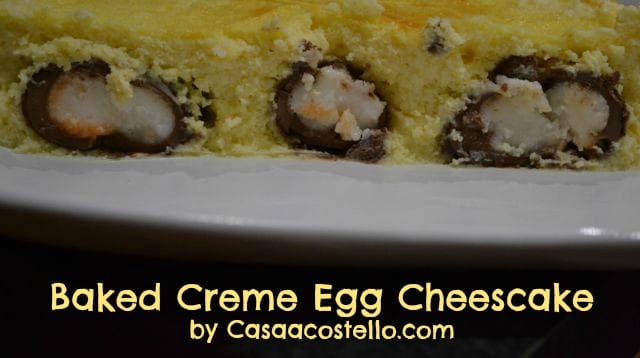 baked cadbury's creme egg cheesecake