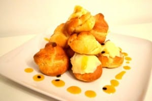 Passion Fruit & White Chocolate Profiteroles