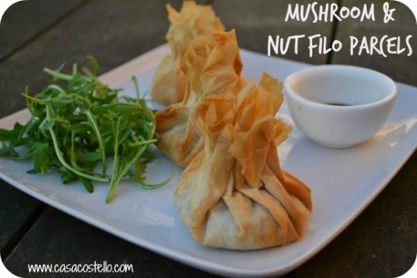 filo parcels with a mixed nut and mushroom filling