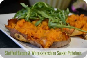 Stuffed Bacon & Worcestershire Sauce Sweet Potatoes