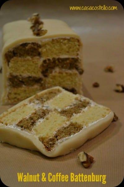 Walnut & Coffee Battenburg - Bake of the Week