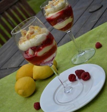 lemon raspberry cream sundae