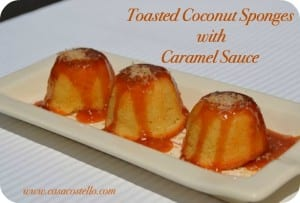 Toasted Coconut Sponges with Caramel Sauce