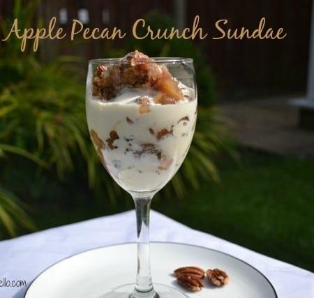 apple pecan crunch crumble sundae