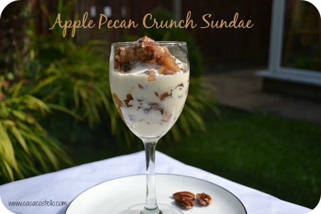 apple pecan crunch crumble sundae