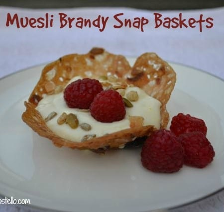 edible muesli brandy snap baskets bowls
