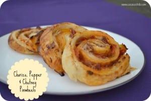 Chorizo, Pepper & Chutney Puff Pastry Pinwheels