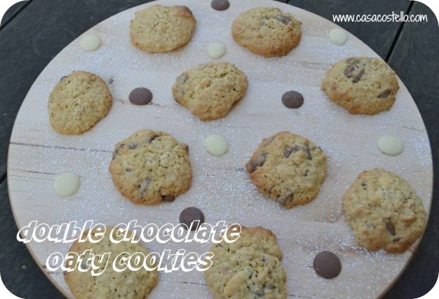 double choc chip oaty cookies