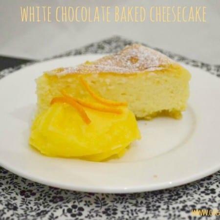 white chocolate baked cheesecake