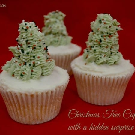 christmas tree cupcakes with a hidden surprise inside