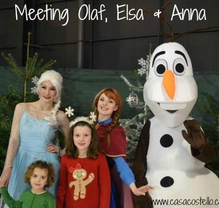 meeting olaf, elsa & anna frozen