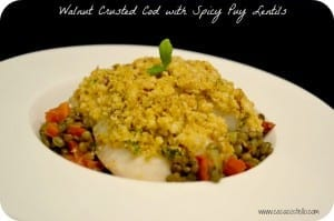 Walnut Crusted Cod with Spicy Puy Lentils