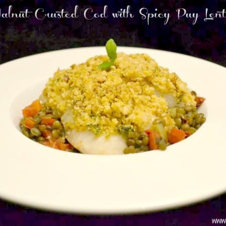 walnut crusted cod spicy puy lentils