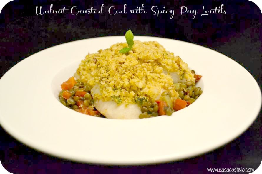 walnut crusted cod spicy puy lentils