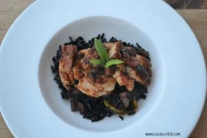 Italian Basil Chicken served with seasoned Black Rice