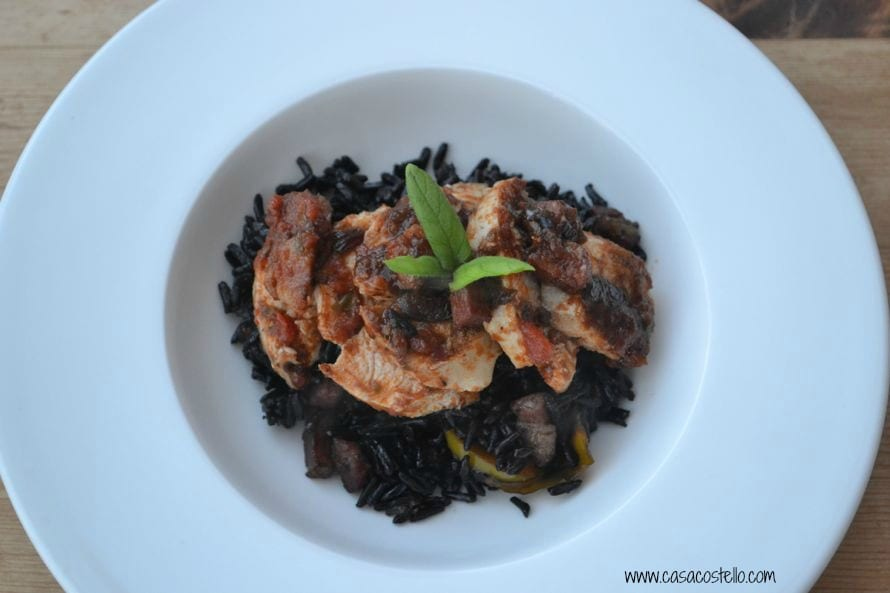 italian basil chicken with black rice