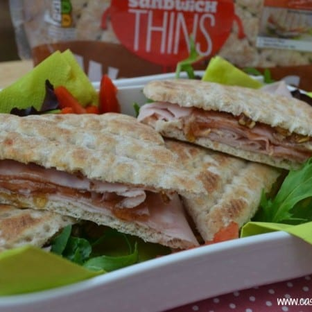 posh ham sandwich with honey & maple dressing & walnuts