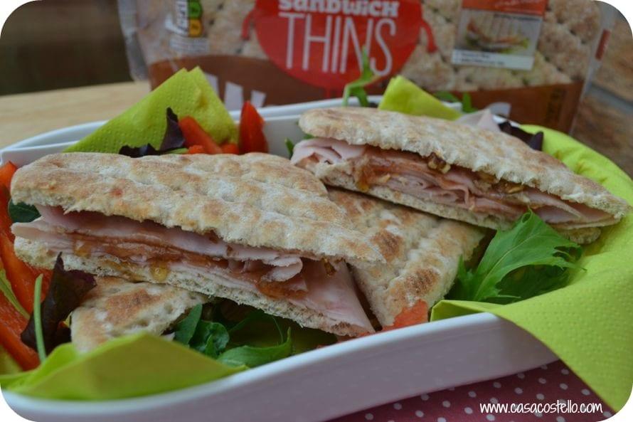 posh ham sandwich with honey & maple dressing & walnuts