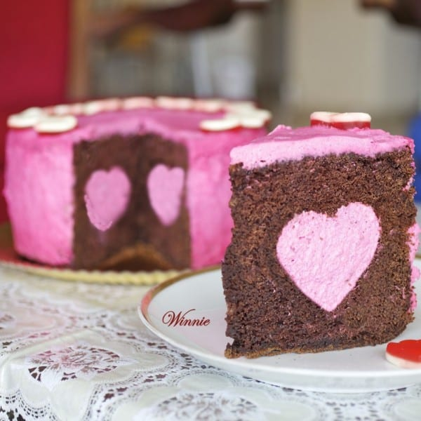 Chocolate Cake with Strawberry Mousse Heart