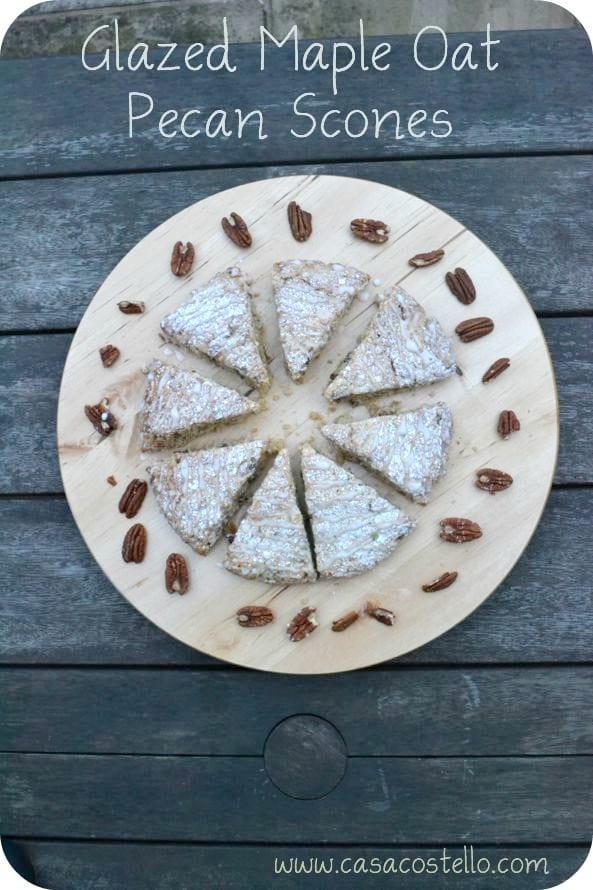 glazed maple oat pecan scones