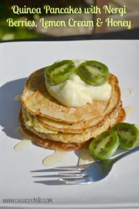 Quinoa Pancakes with NERGI® Berries, Lemon Cream & Honey