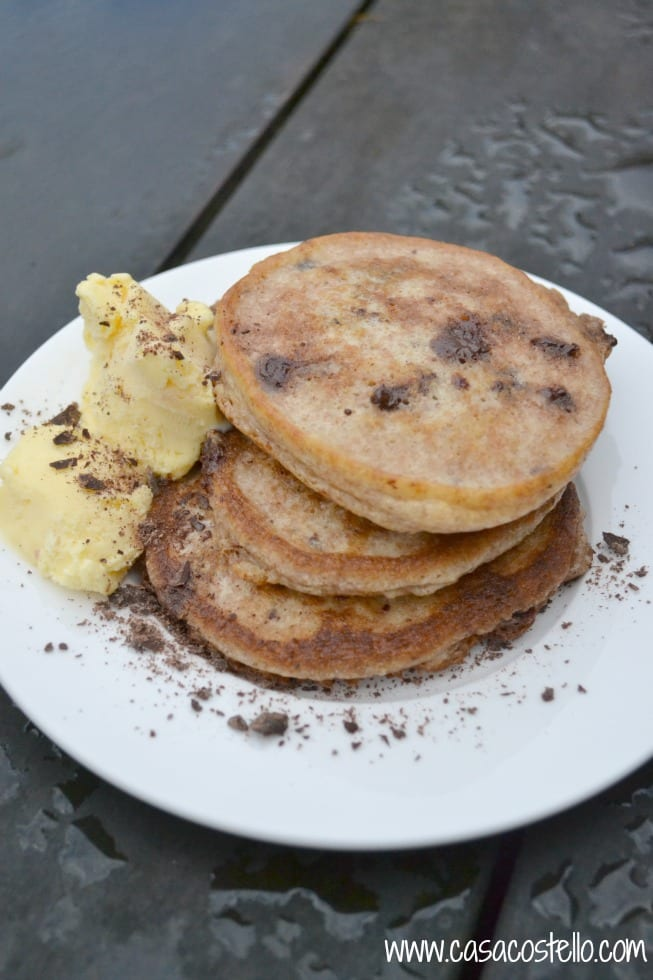 Wholewheat Pancakes with Dark Chocolate Chips & Orange Blossom