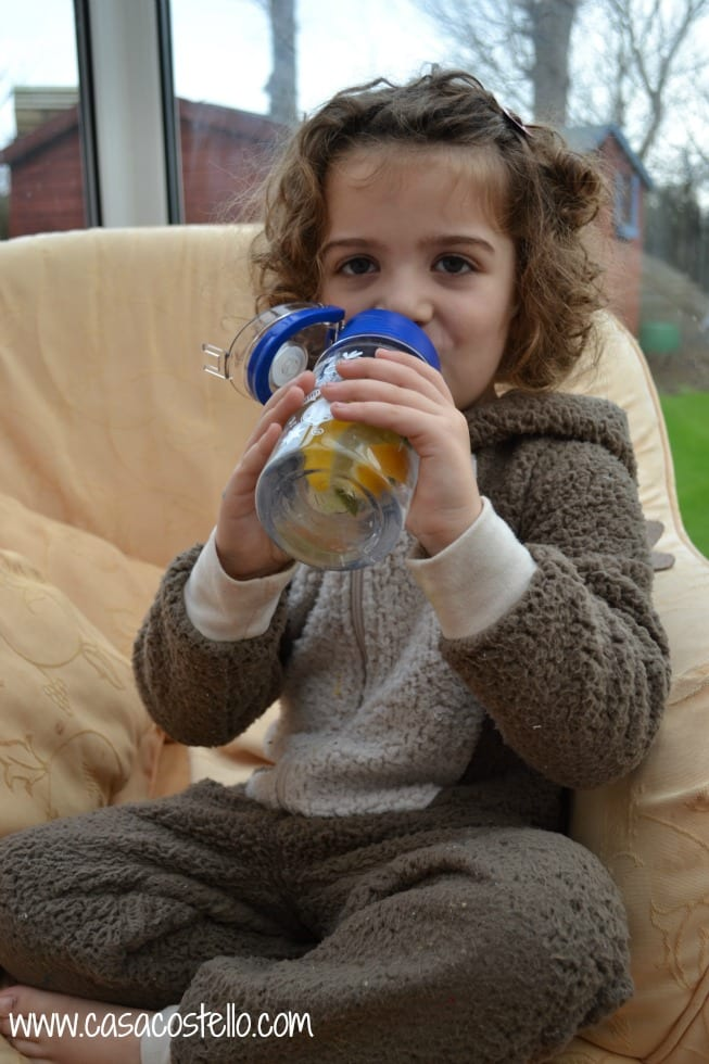 Drinking from an Infruition Water Bottle