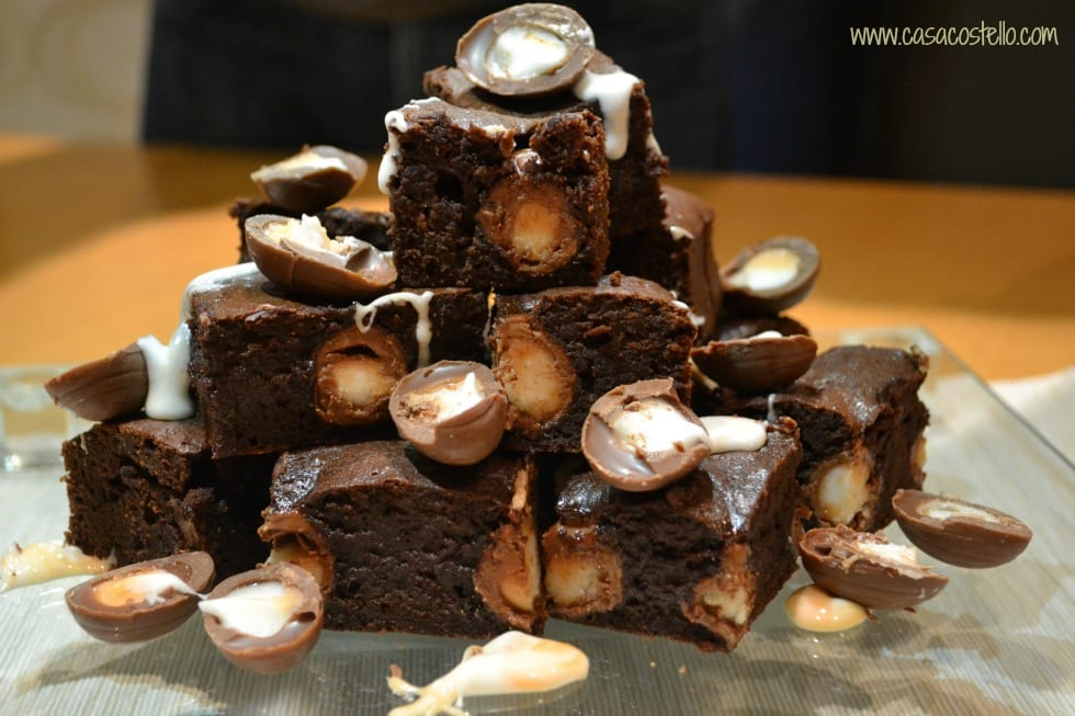 Creme Egg Brownies Stack
