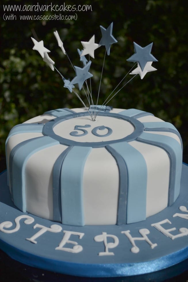 Mens Blue 50th Birthday Cake