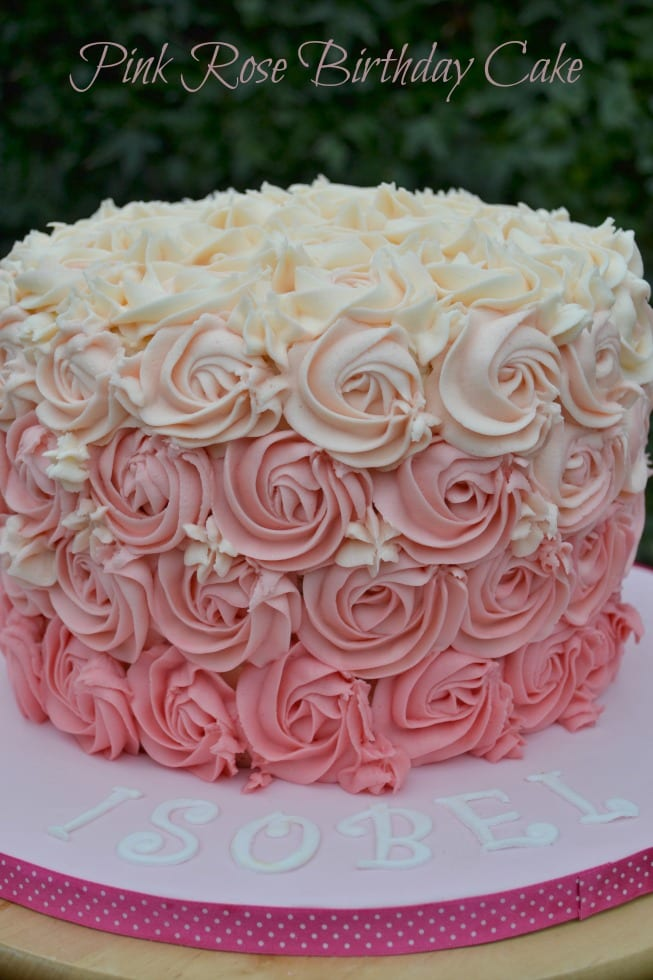 Pink Rose Ombre Buttercream Swirl Birthday Cake