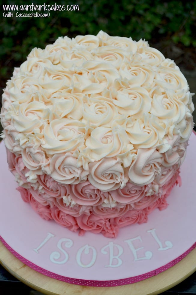 Marvelous Pink Rose Ombre Buttercream Swirl Birthday Cake Funny Birthday Cards Online Alyptdamsfinfo