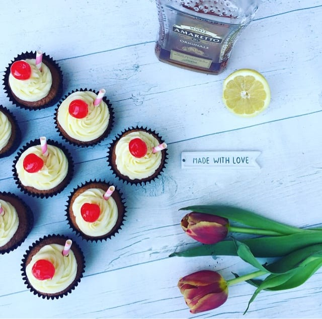 Amaretto Sours Cocktail Cupcakes