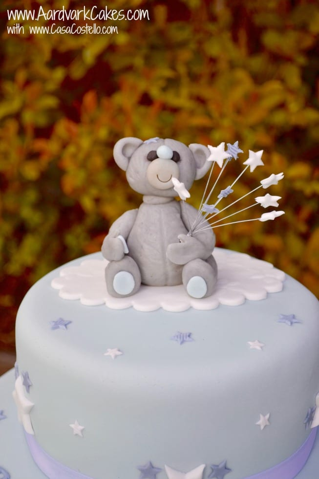 Close Up Marzipan Tatty Teddy Christening Cake Topper