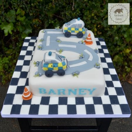 Police Car Road Children's Birthday Cake