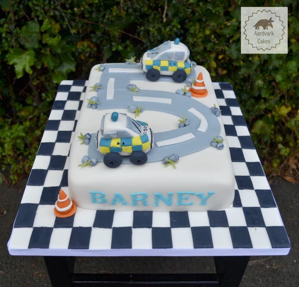 Police Car Road Children's Birthday Cake