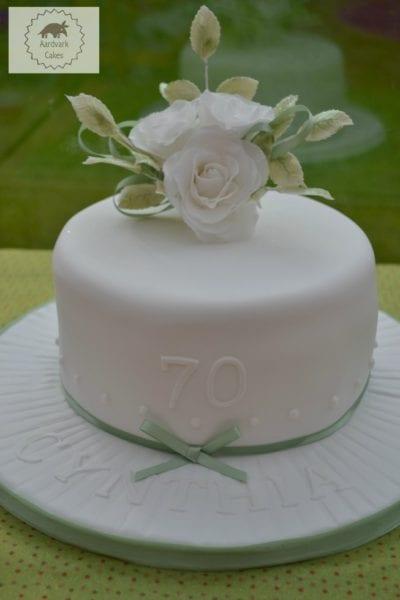 70th Birthday Cake With White Sugar Roses BakeoftheWeek