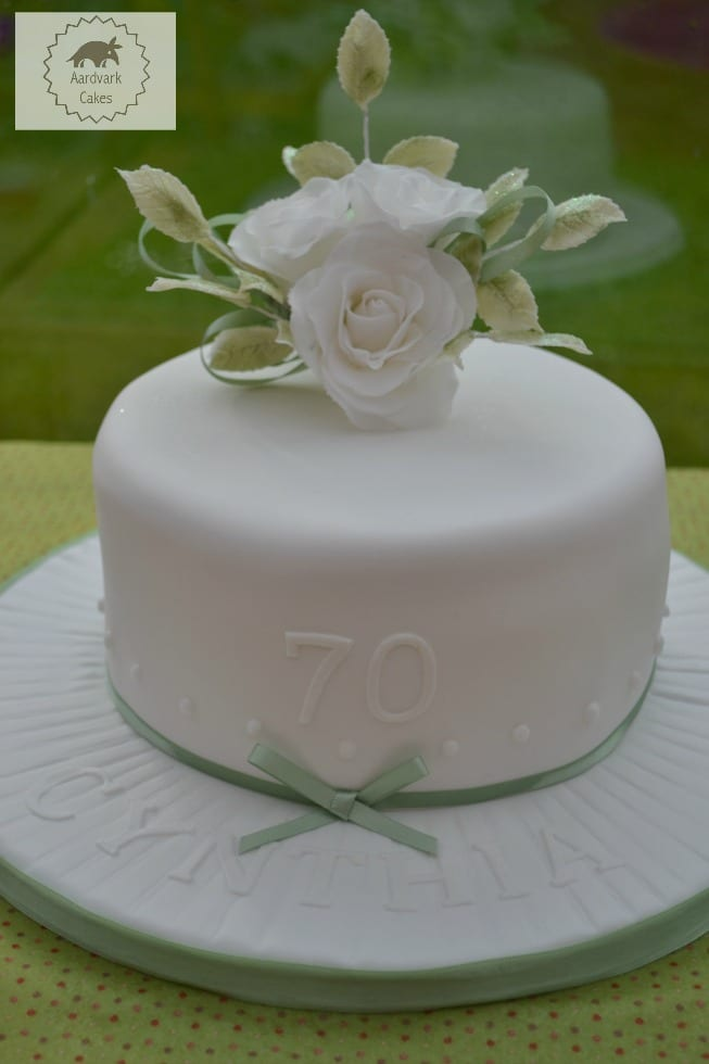 70th Birthday Cake With White Sugar Roses Bakeoftheweek