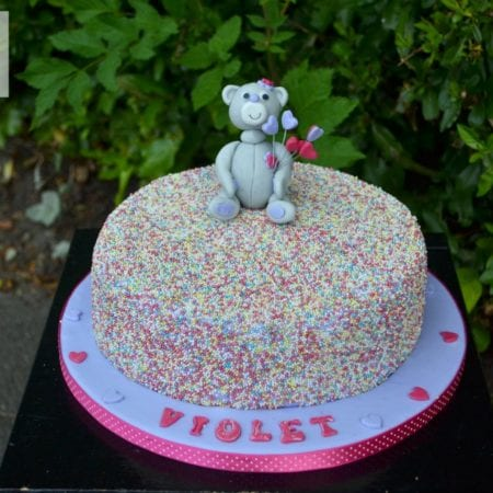 Happy 10th Birthday Violet – Confetti Teddy Cake