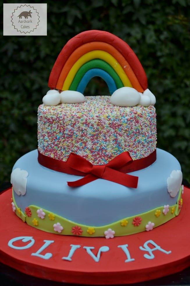 Rainbow Funfetti Confetti Sprinkle Cake
