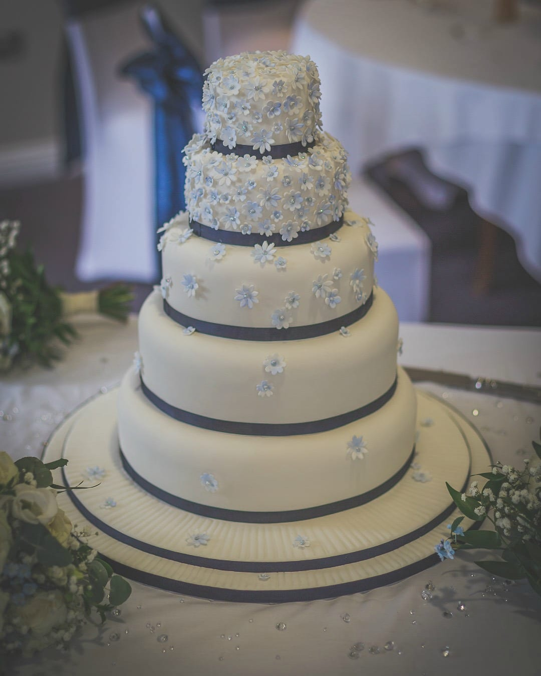 Blue Forget-Me-Not 5 tier Wedding Cake